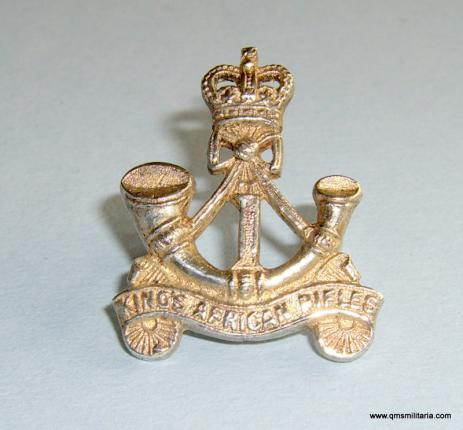 1st ( Nyasaland Battalion ) Kings African Rifles Officers Hallmarked 1961 Silver Field Service Cap Badge, Queens Crown