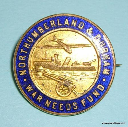 Scarce WW2 Northumberland & Durham War Needs Fund Gilt and Enamel Pin Badge