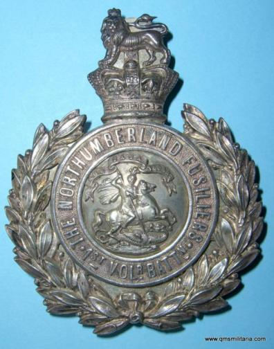 1st Volunteer Battalion Northumberland Fusiliers Officers Silver Plated Shoulder Belt Plate - made by Hobson