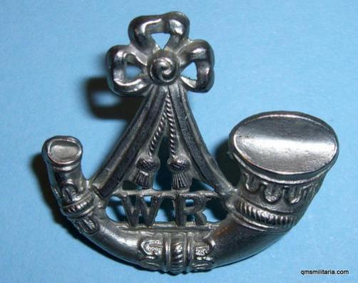 South African Witwatersrand Rifles single white metal collar badge