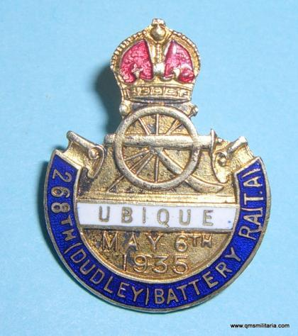 Scarce 268th ( Dudley ) Battery Royal Artillery ( T.A. ) Silver plated and enamel Coronation Souvenir Lapel Pin Badge