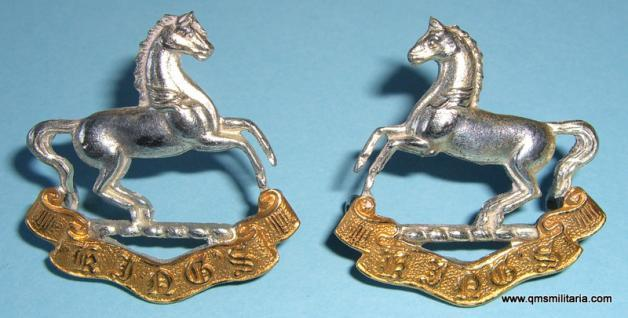 Kings Liverpool Regiment Officers Silver and Gilt Matched Facing Collar Badges