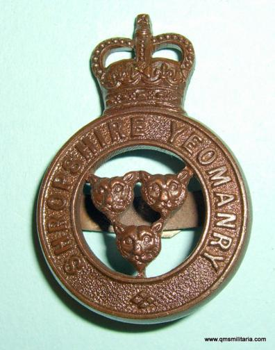 6 - Shropshire Yeomanry Officer 's OSD Bronze Cap Badge with blades, QEII