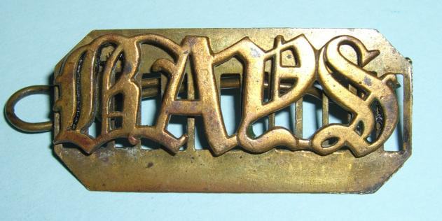 Large Pattern BAYS 2nd Dragoon Guards Brass Shoulder Title on Backing Plate