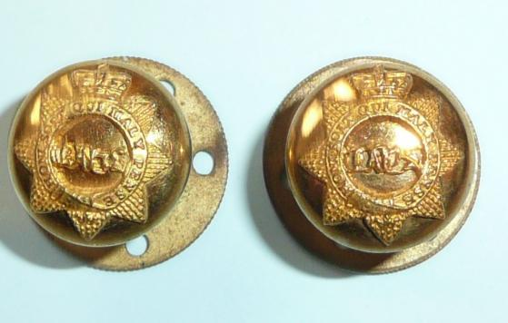 Stunning Pair Victorian Queens Bays ( 2nd Dragoon Guards) Fire Gilt Officers Buttons on Posts