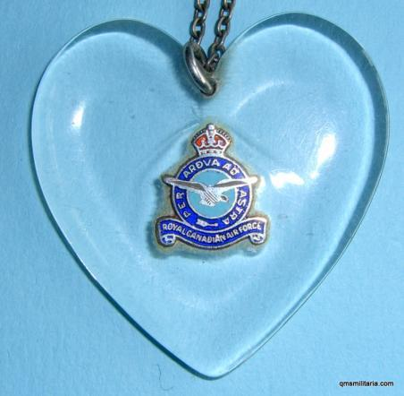 WW2 Royal Canadian Air Force ( RCAF) Aircraft Perspex Sweetheart on white metal chain