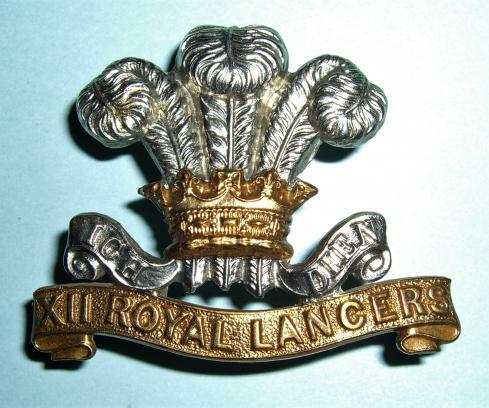 Scarce Victorian / Edwardian 12th Royal Lancers Other Ranks Cap Badge, 1898 - 1903