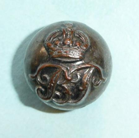 Bombay Police (BP) Silver Plated Ball Button, Kings Crown