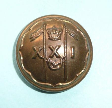 Victorian 21st Lancers ( Empress of India's ) Other Ranks Large Pattern Brass Button