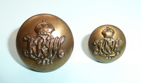 8th Hussars Officers Buttons Gilt Buttons Medium and Small Cap Buttons