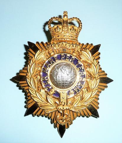 Stunning Royal Marines ( RM ) Officers QEII Issue Helmet Plate Silver Plate, Enamel and Gilt