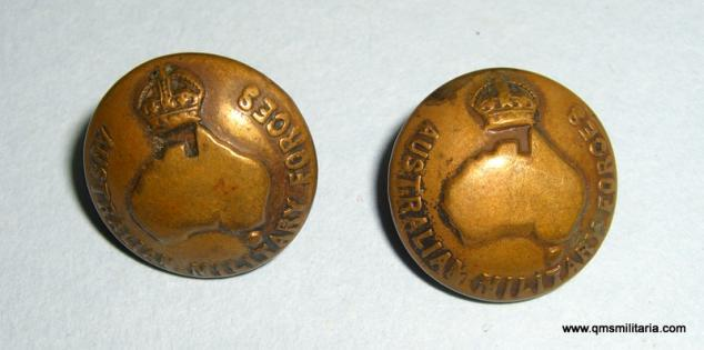 Pair of Small pattern Imperial Australian Military Forces Brass Cap Buttons, Kings Crown