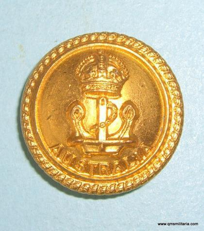 Royal Australian Navy ( RAN ) Officers Large Gilt Button, pre 1952