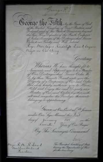 Colonel Roger Montague Radcliffe Lamb, Northumberland Fusiliers Framed Bestowal Certificate for Award of Distinguished Service Order ( DSO ) dated 1st January 1917. Signed by King George V and Lord Derby, Secretary of State for War