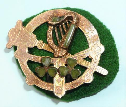 Irish Celtic Cultural Revival Tara Type Brooch - Gilt and Semi Precious Stones