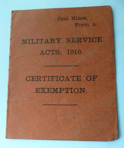 WW1 Miners Exemption Card - Derbyshire connection