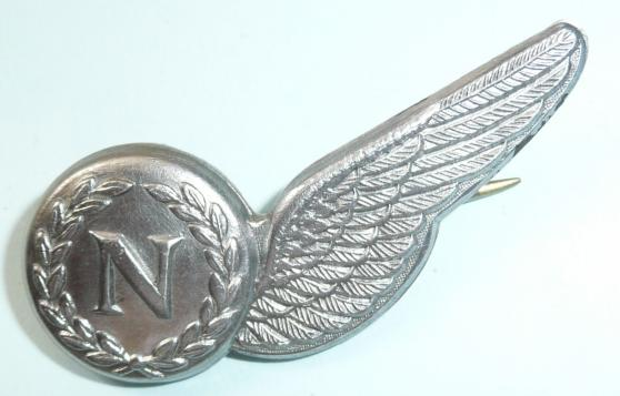 Royal New Zealand Air Force (RNZAF) White Metal Half Brevet Wing Navigator - Maker marked KNW