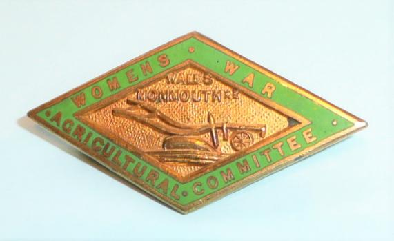 WW1 Home Front - Womens War Agricultural Wales Monmouthshire Committee Gilt & Enamel Lapel Badge