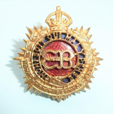 Rare Royal Army Service Corps RASC Edward VIII 8th Fire Gilt & Enamel Officers Forage Cap or Collar Badge