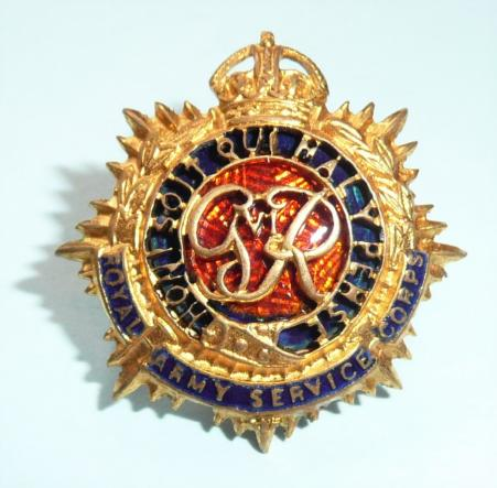 Royal Army Service Corps RASC George VI 6th Fire Gilt & Enamel Officers Forage Cap or Collar Badge