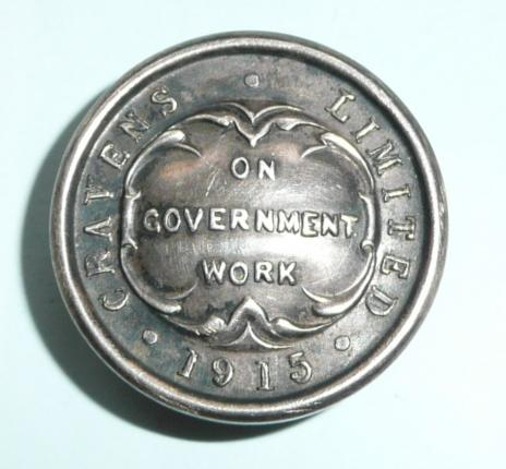 WW1 1915 Cravens Limited On Government Work Railway Rolling Stock War Service White Metal Lapel Buttonhole Badge