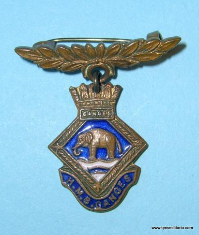 Royal Navy - HMS Ganges Training Depot Brass and Enamel Sweetheart Pin Brooch Badge