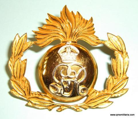 George 5th Royal Marine Artillery ( RMA ) Band Stunning Silver Plated and Fire Gilt Cap Badge, 1912 - 1923