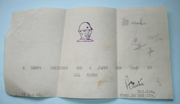 14th Indian Division Theatre Made Xmas Greetings Paper Slip 1943 - signed by Officer Commanding