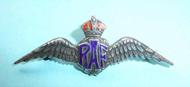 WW2 Royal Air Force (RAF) Silver & Enamel Pilots Wing Sweetheart Brooch
