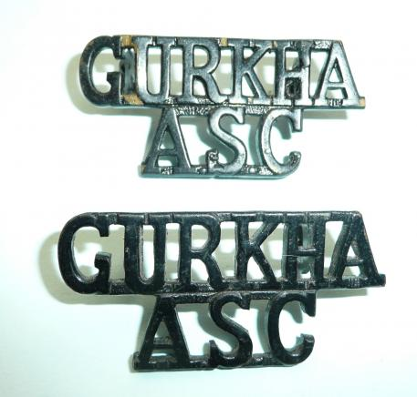 Gurkha ASC (Army Service Corps) Pair of blackened metal shoulder titles,  circa 1958-65