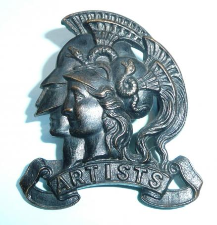 Early Artists Rifles / 20th Middlesex RVC Blackened Brass Slouch Hat Badge