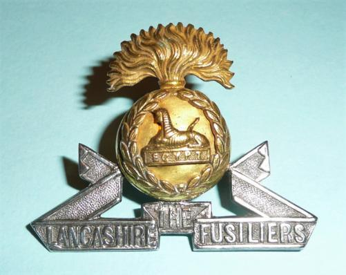 The Lancashire Fusiliers Officers Full Dress Silver Plate and Gilt Cap Badge