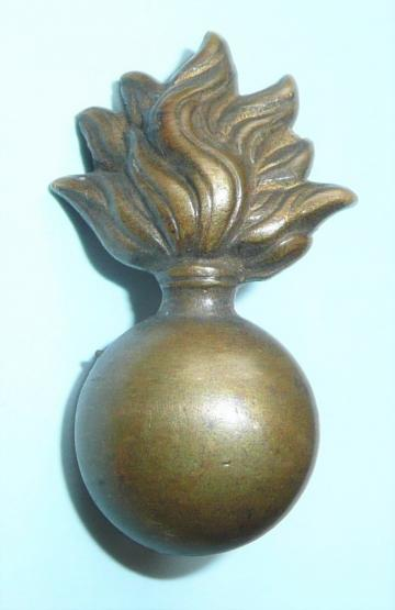 Early Flaming Grenade Brass Collar Badge