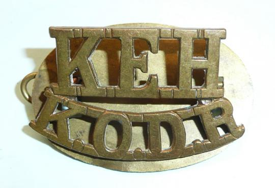 KEH / KODR King Edwards Horse / The Kings Overseas Dominions Regiment Brass Shoulder Title with brass backing plate