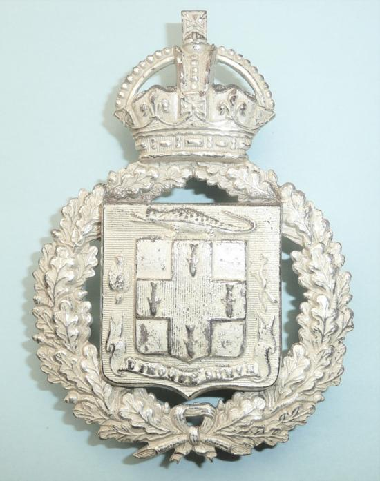 West Indies - Jamaica Constabulary Cross Belt Plate In Frosted Silver Plate