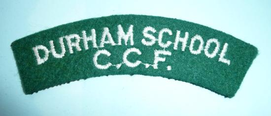 Durham School CCF Combined Cadet Force Woven White on Green Felt Cloth Shoulder Title