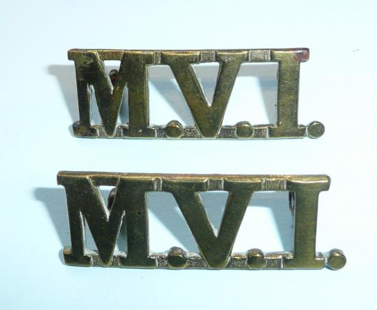 MVI Malayan Volunteer Infantry Matched Pair of Brass Shoulder Titles