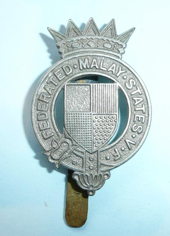 Federated Malay States Volunteer Force White Metal  Glengarry / Cap Badge - Gaunt
