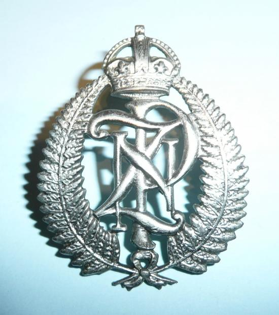 New Zealand Police White Metal Cap Badge, Kings Crown