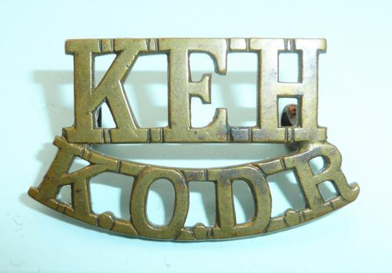 KEH / KODR King Edwards Horse / The Kings Overseas Dominions Regiment Brass Shoulder Title