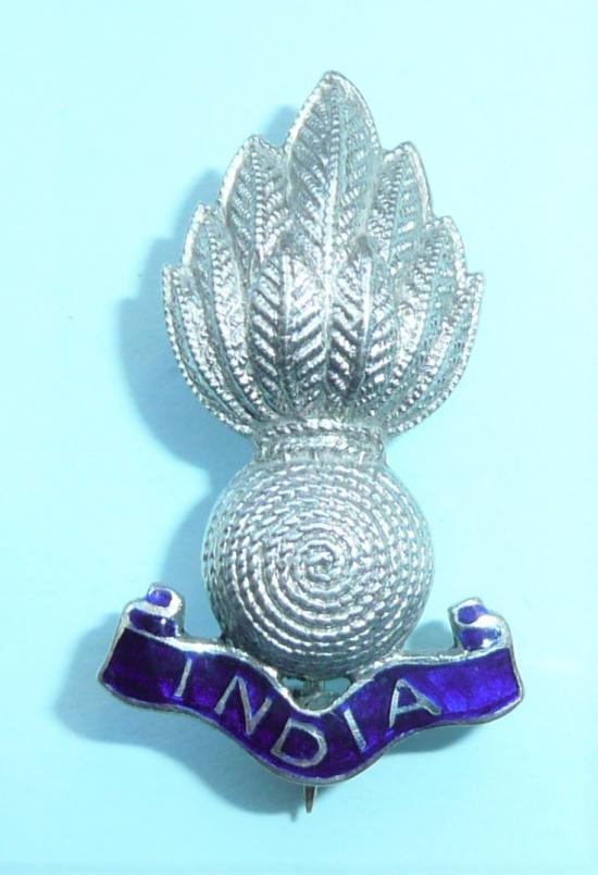 Indian Army Engineers Silver & Enamel Sweetheart Pin Brooch Badge