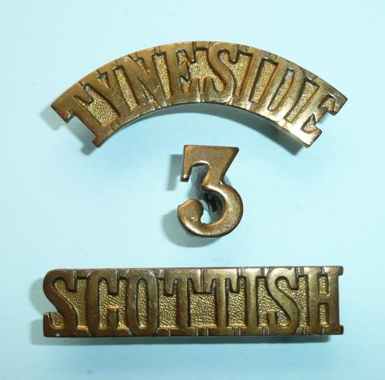 WW1 3rd Battalion Tyneside Scottish Brass Gilding Metal 3 Piece Shoulder Title