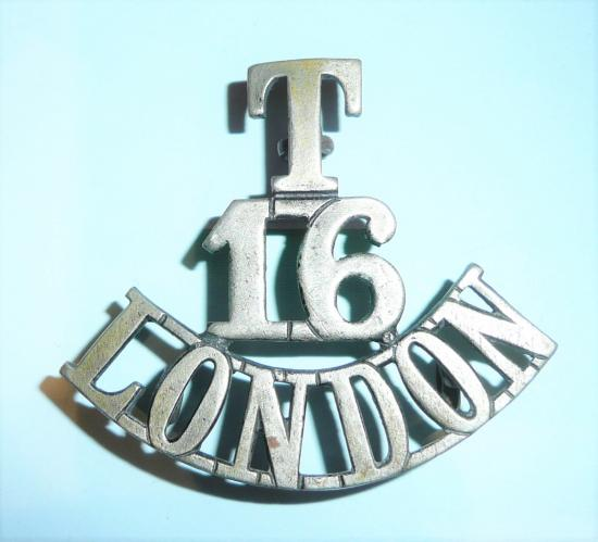T / 16 / London Regiment (The Queens Westminster Rifles) One Piece White Metal Shoulder Title