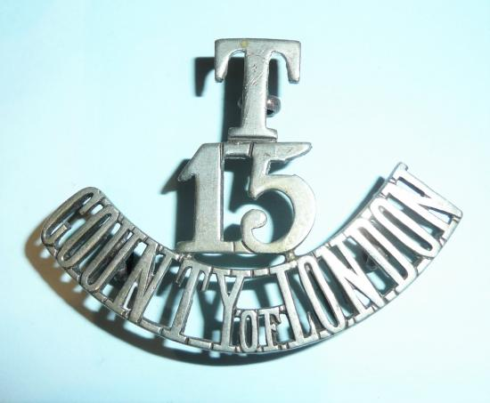 T / 15 / County of London Regiment (Civil Service Rifles) One Piece White Metal Shoulder Title