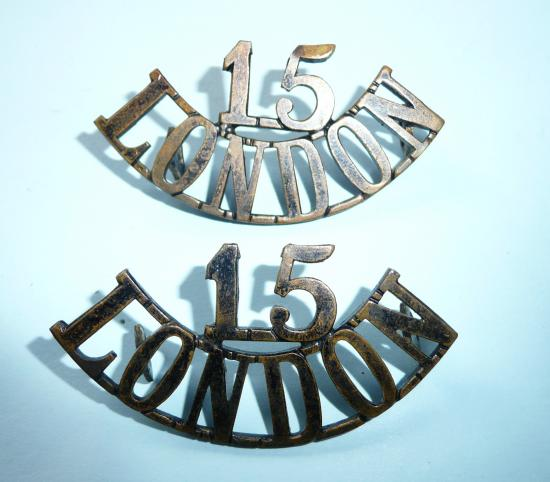 15 / London Regiment (Civil Service Rifles) Matched Pair of One Piece Blackened Brass Shoulder Titles